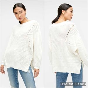 7 For All Mankind Ivory Cream Knit Zipper Sweater